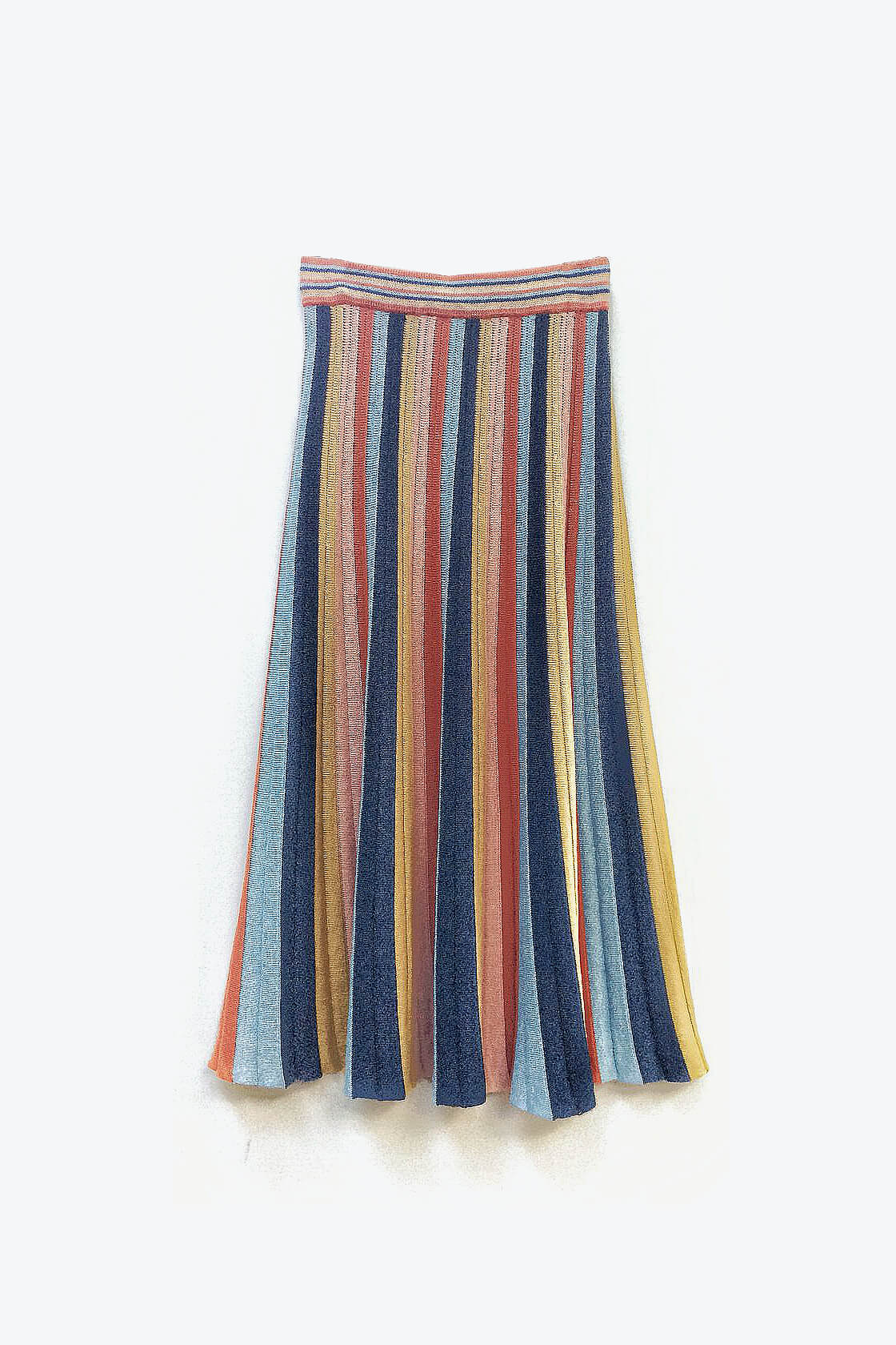 Boho Chic Knitted Maxi Skirt In Multi Color Stripes Denim