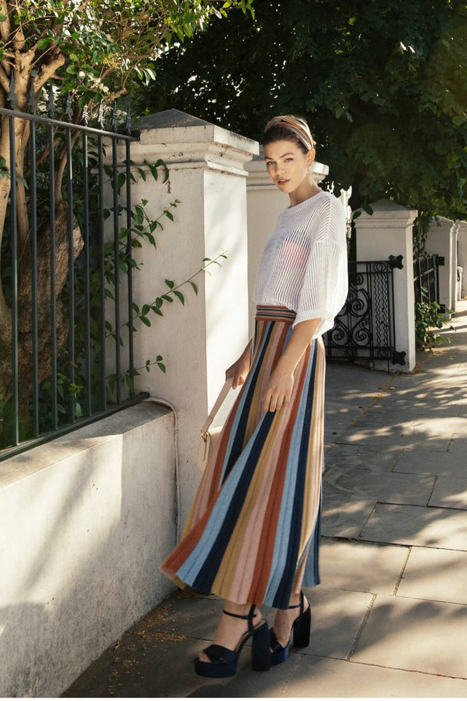 Boho Chic Knitted Maxi Skirt In Multi Color Stripes Denim B