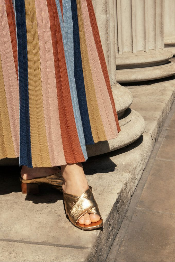 Boho Chic Knitted Maxi Skirt In Multi Color Stripes Denim C