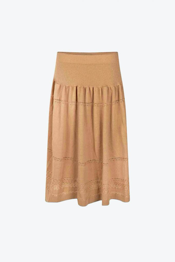 Calf Length Bohemian Chic Knitted Skirt Sweety Beige A