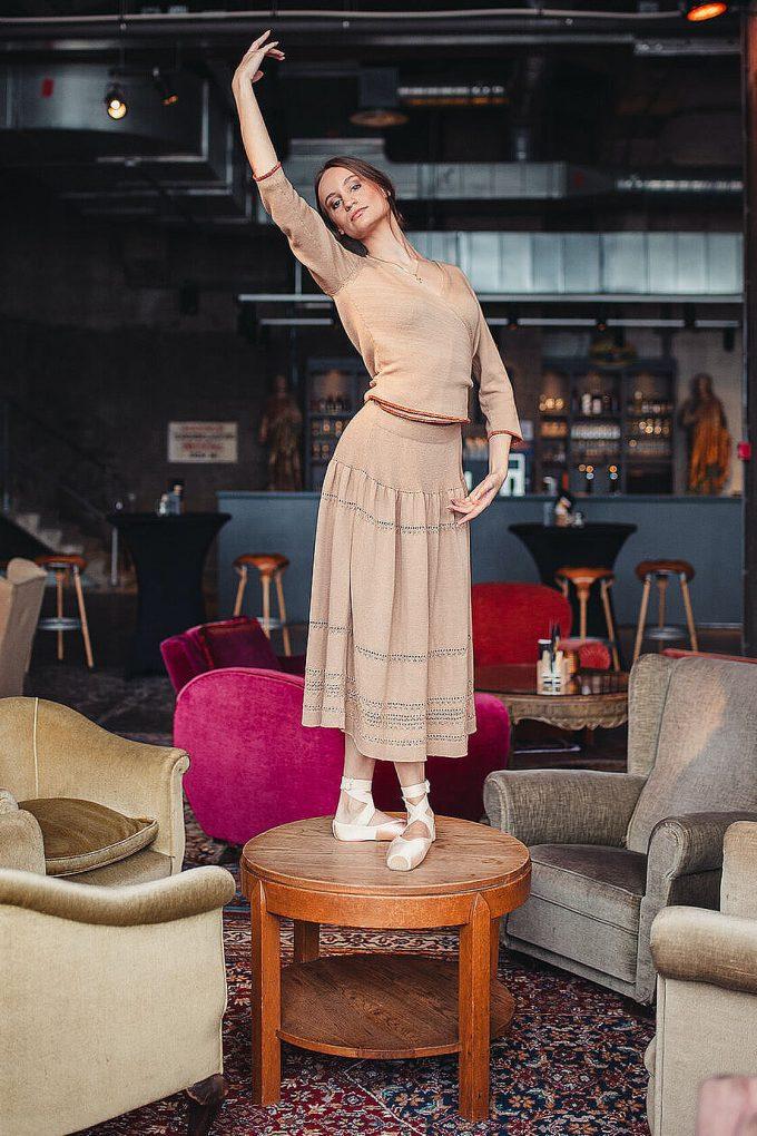 Calf Length Bohemian Chic Knitted Skirt Sweety Beige B