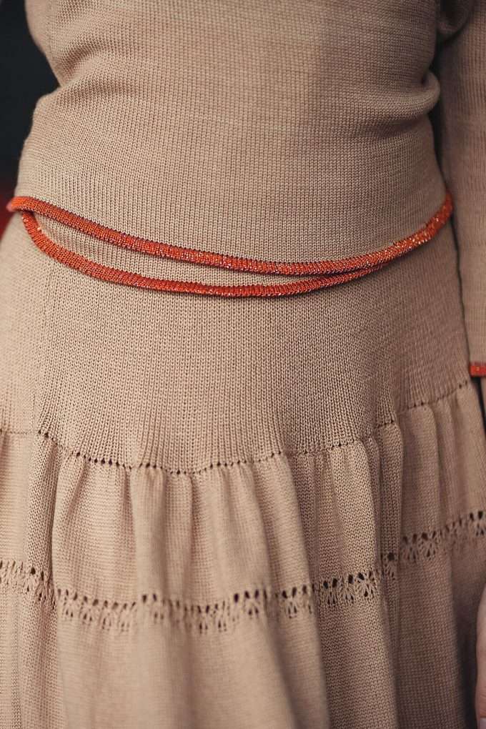 Calf Length Bohemian Chic Knitted Skirt Sweety Beige C