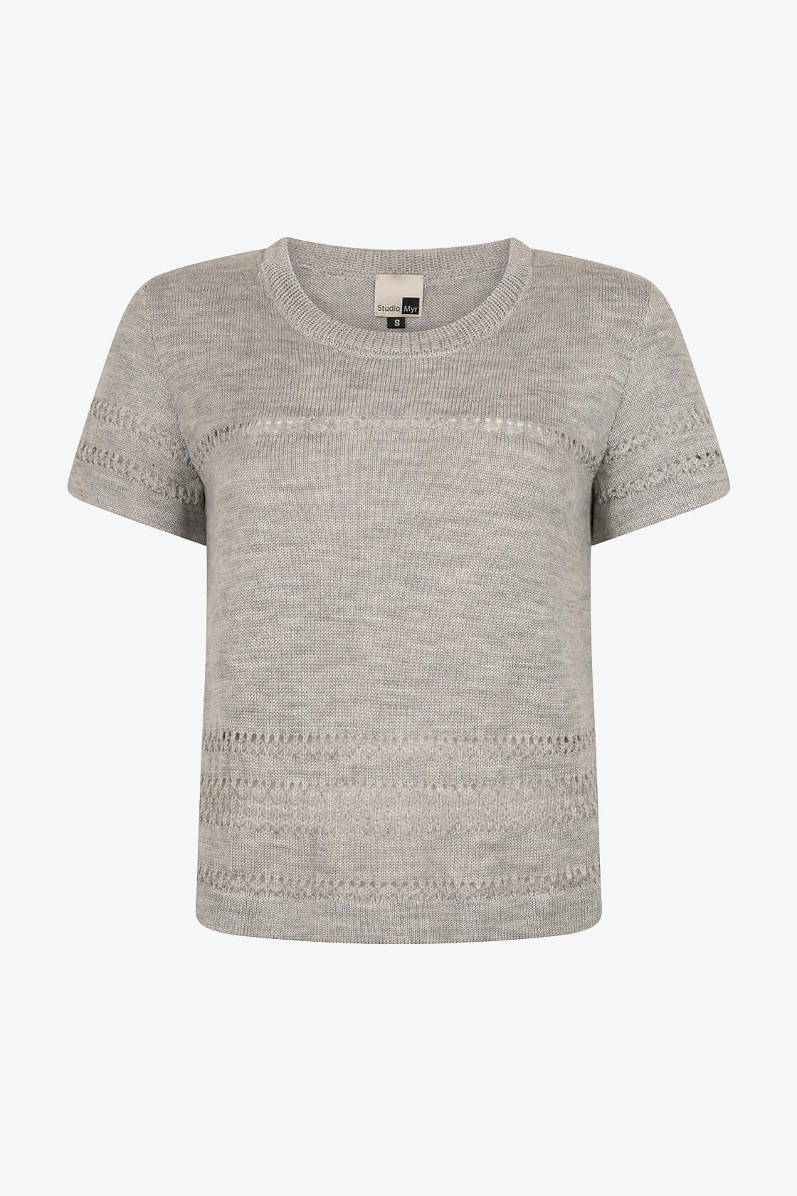 Classical Feminine Short Sleeve Jumper Sweety Grey