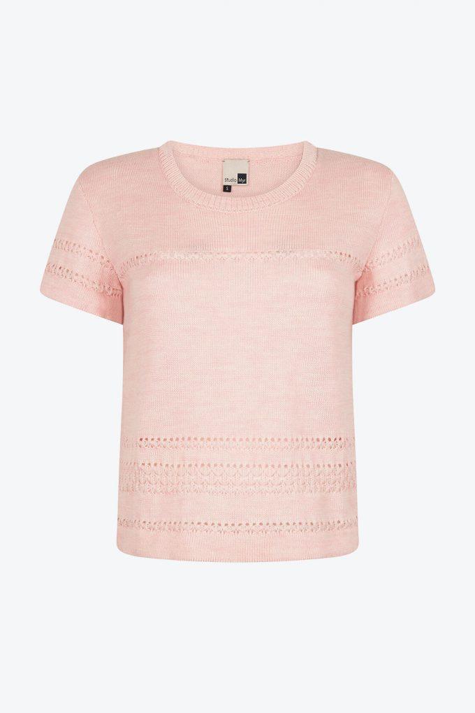 Classical Feminine Short Sleeve Jumper Sweety Pink A