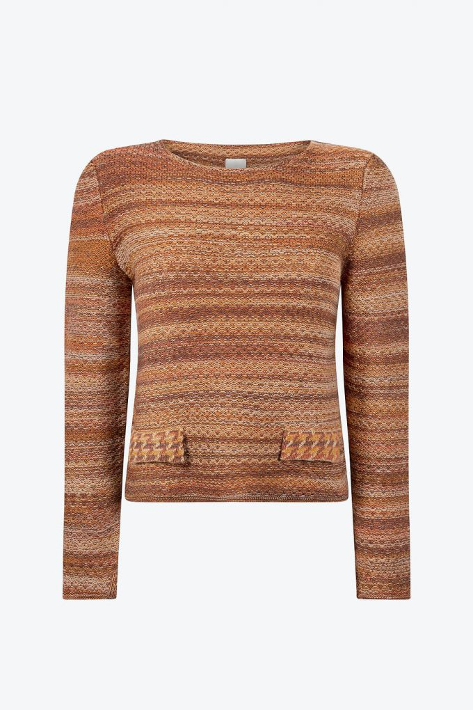 Elegant Knitted Jumper In Audrey Hepburn Style Tweed Ginger A