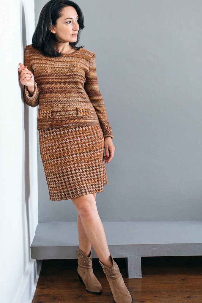 Elegant Knitted Jumper In Audrey Hepburn Style Tweed Ginger C