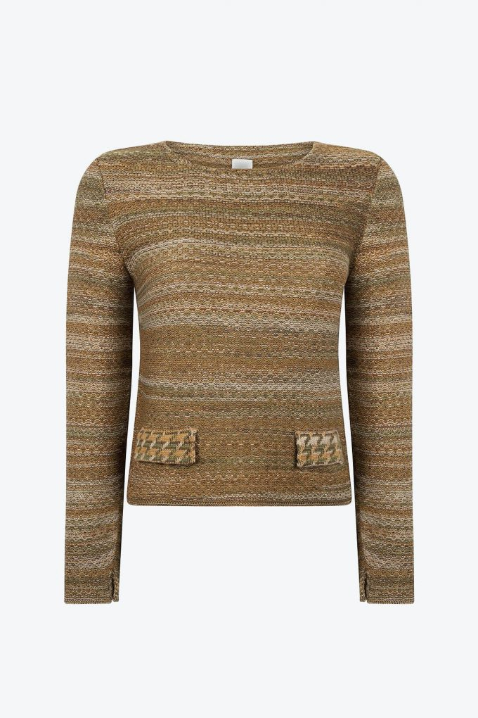 Feminine High Quality Knitted Jumper In Audrey Hepburn Style Tweed Moss A