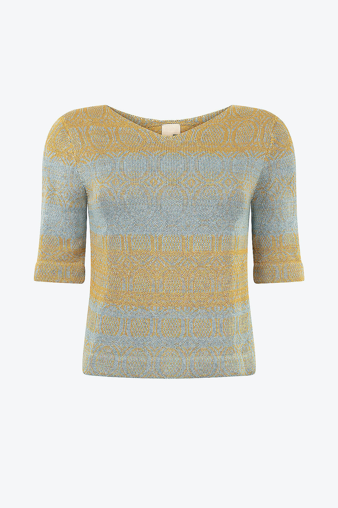 Knitted Cotton Jumper With V Neck And 3 4 Sleeves Denim Light Blue With Yellow Copper