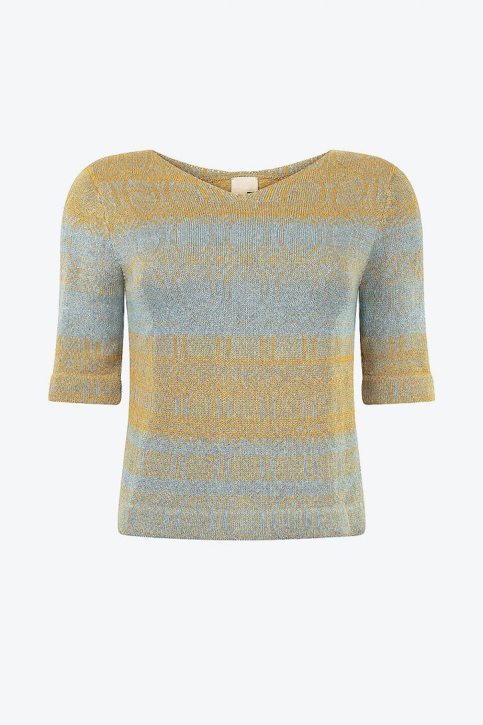 Knitted Cotton Jumper With V Neck And 3 4 Sleeves Denim Light Blue With Yellow Copper A