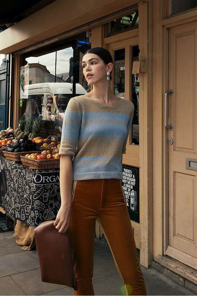 Knitted Cotton Jumper With V Neck And 3 4 Sleeves Denim Light Blue With Yellow Copper C