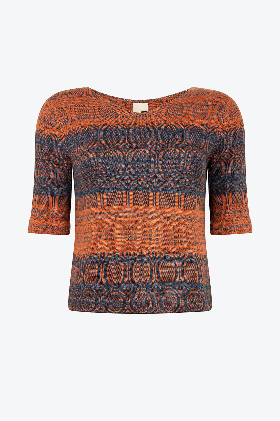 Knitted Cotton Jumper With V Neck And 3 4 Sleeves Denim Red Copper With Indigo Blue