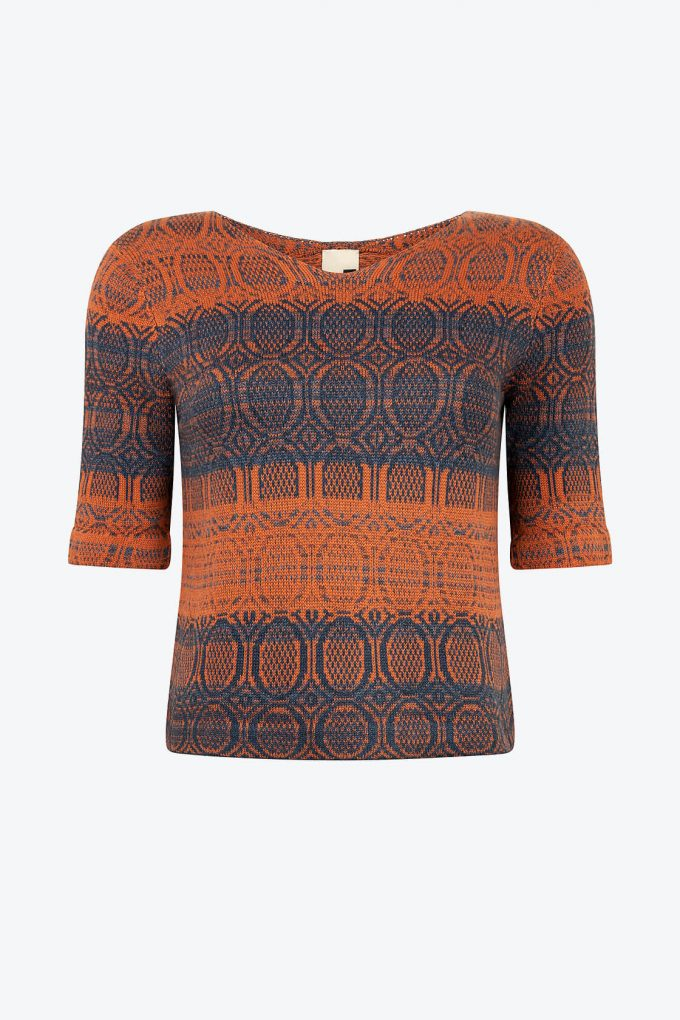 Knitted Cotton Jumper With V Neck And 3 4 Sleeves Denim Red Copper With Indigo Blue A