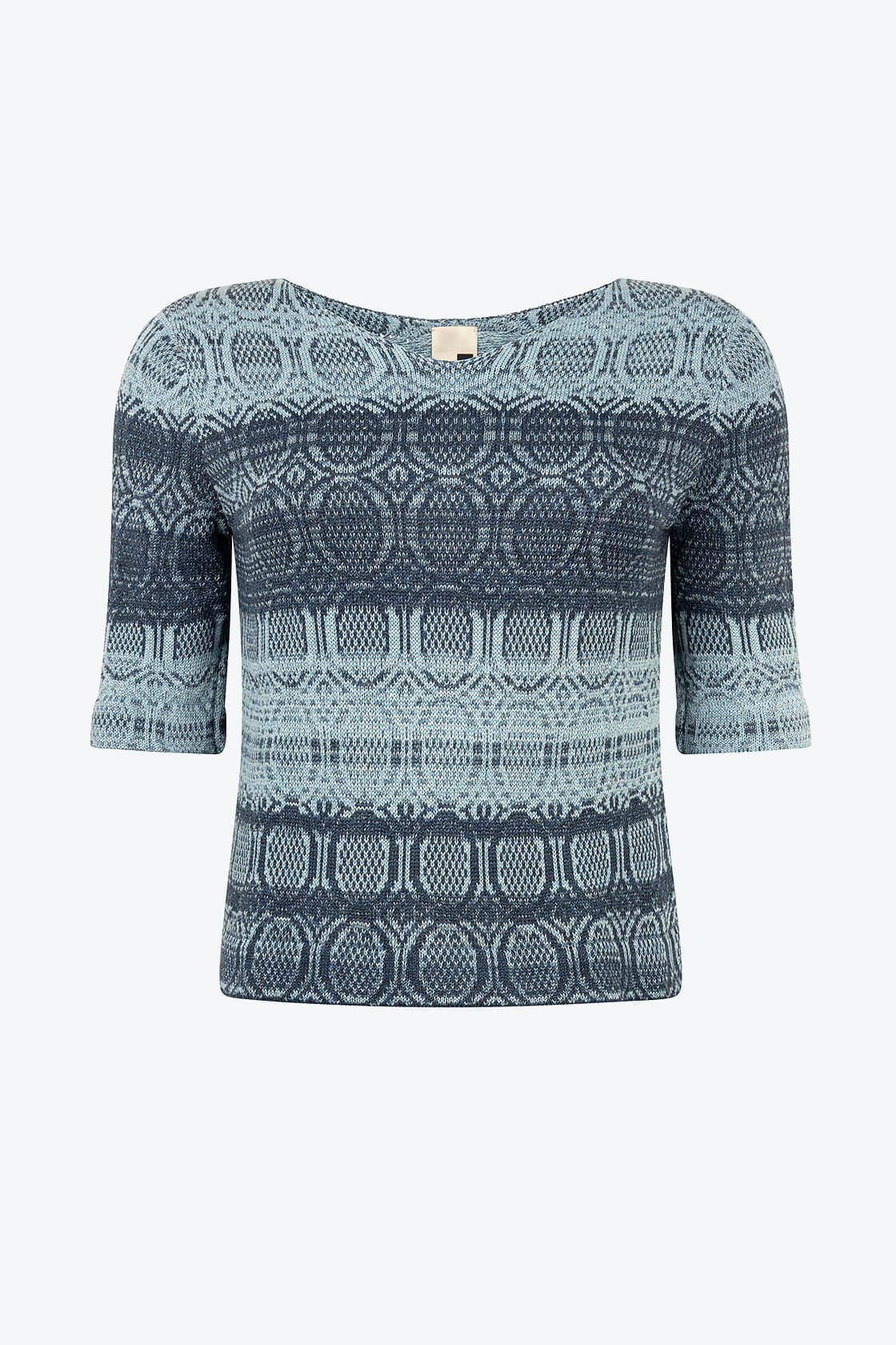 Knitted Cotton V Neck Jumper With 3 4 Sleeves Denim Wasted Blue