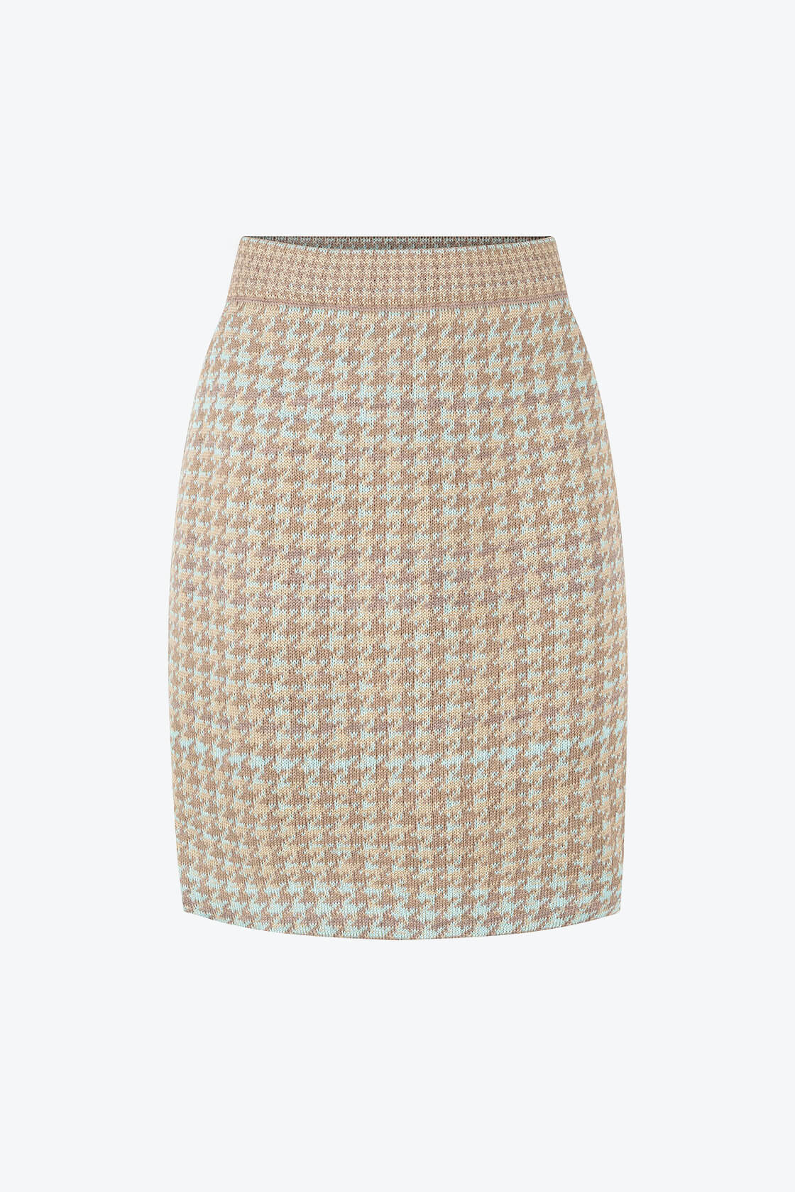 Knitted Knee Length Pencil Skirt In Pieds De Poule Pattern Tweed Fair