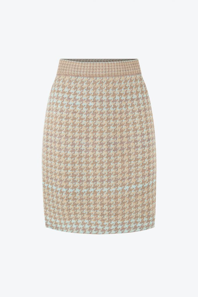 Knitted Knee Length Pencil Skirt In Pieds De Poule Pattern Tweed Fair A