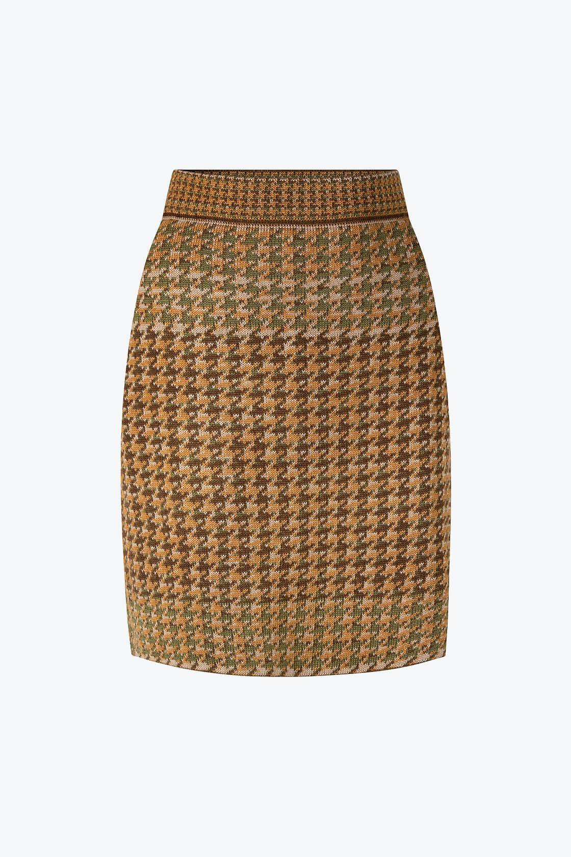 Knitted Knee Length Pencil Skirt In Pieds De Poule Pattern Tweed Moss