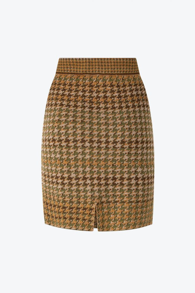 Knitted Knee Length Pencil Skirt In Pieds De Poule Pattern Tweed Moss B