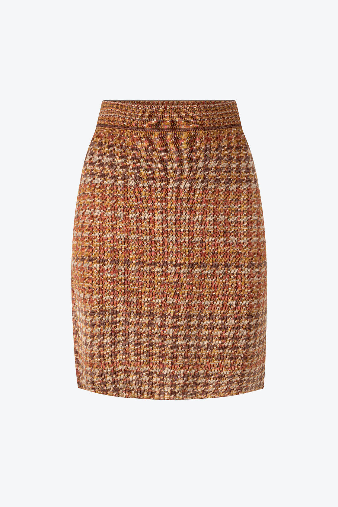 Knitted Knee Length Pencil Skirt In Pieds De Poule Pattern Tweed Ginger