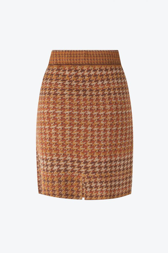 Knitted Knee Length Pencil Skirt In Pieds De Poule Pattern Tweed Ginger B