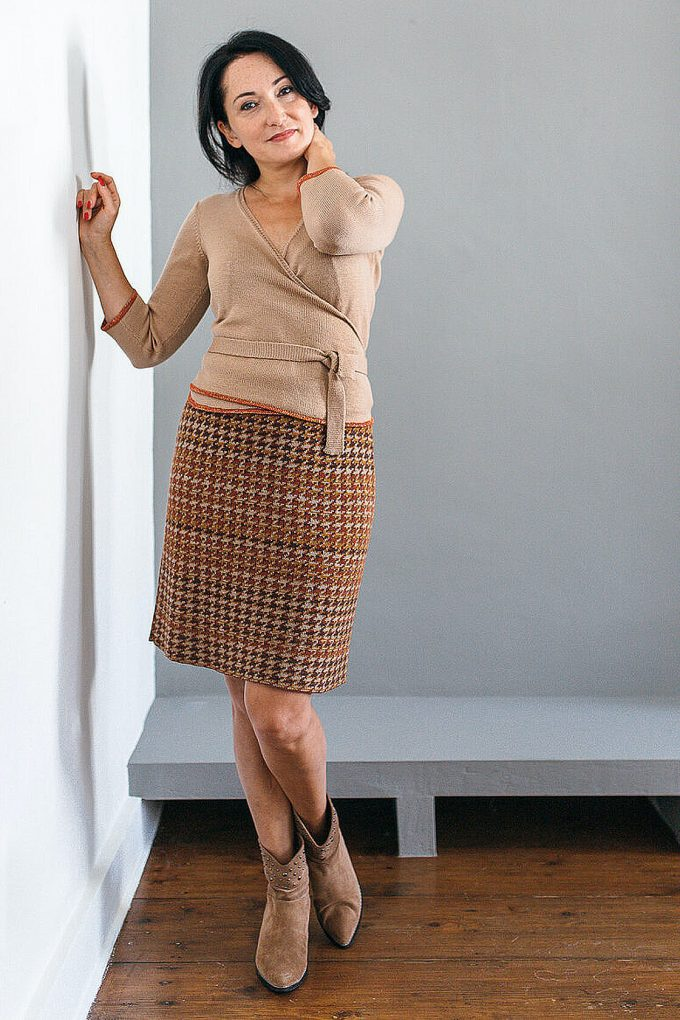 Knitted Knee Length Pencil Skirt In Pieds De Poule Pattern Tweed Ginger C