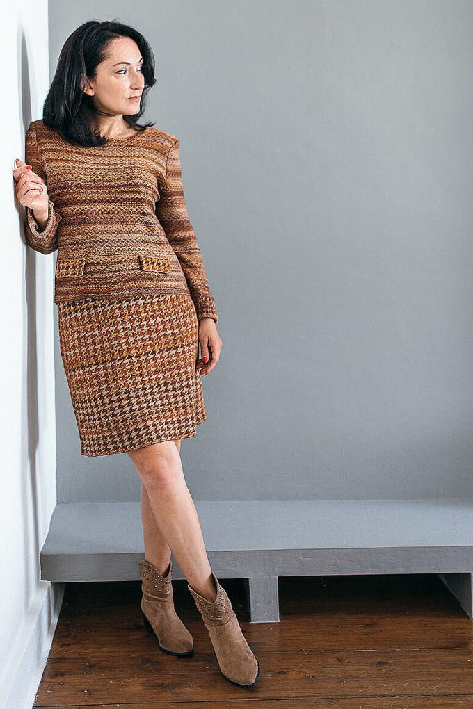 Knitted Knee Length Pencil Skirt In Pieds De Poule Pattern Tweed Ginger D