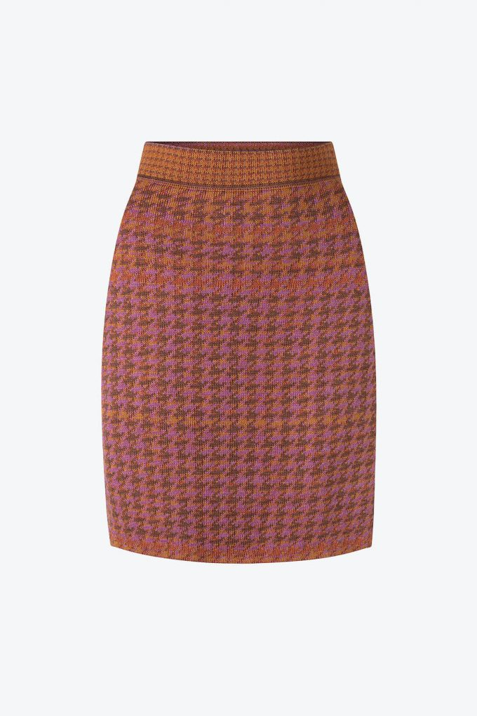 Knitted Knee Length Pencil Skirt In Pieds De Poule Pattern Tweed Heather A