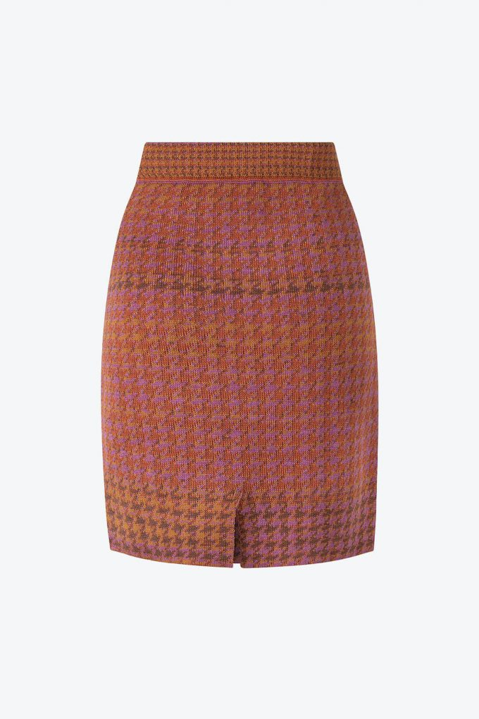 Knitted Knee Length Pencil Skirt In Pieds De Poule Pattern Tweed Heather B