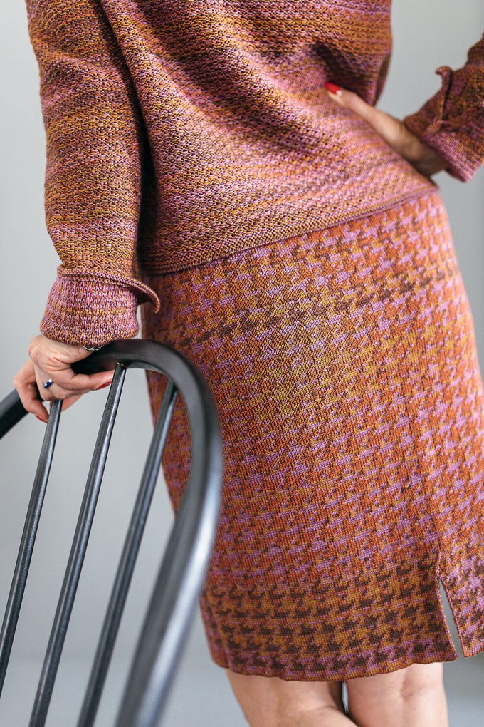 Knitted Knee Length Pencil Skirt In Pieds De Poule Pattern Tweed Heather D