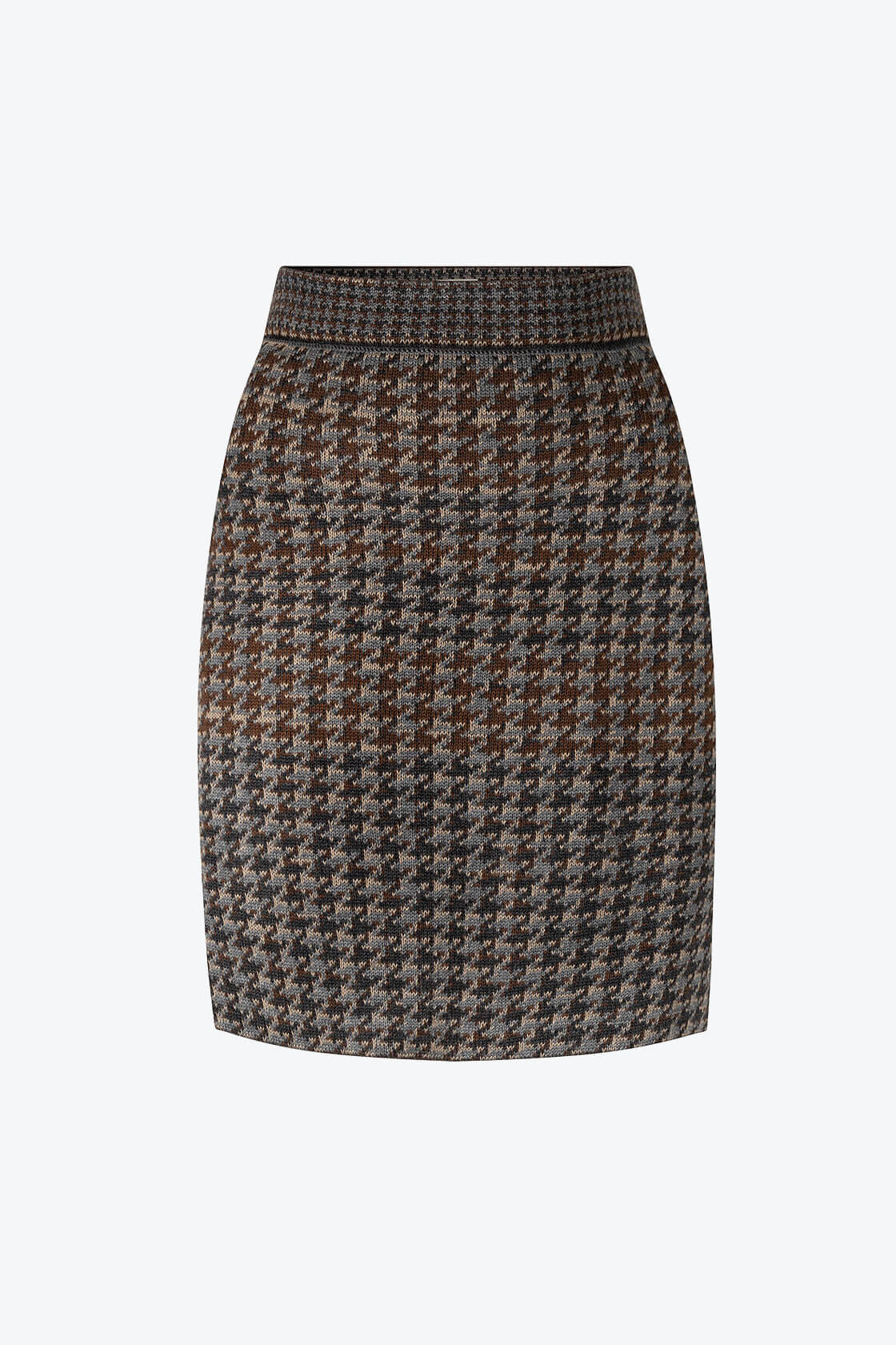 Knitted Knee Length Pencil Skirt In Pieds De Poule Pattern Tweed Raven