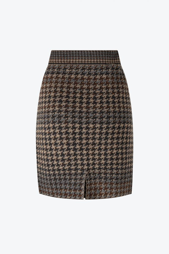 Knitted Knee Length Pencil Skirt In Pieds De Poule Pattern Tweed Raven B