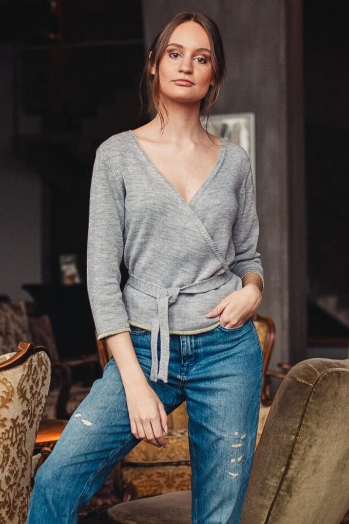Natural Grey Wrap Top Sweety D