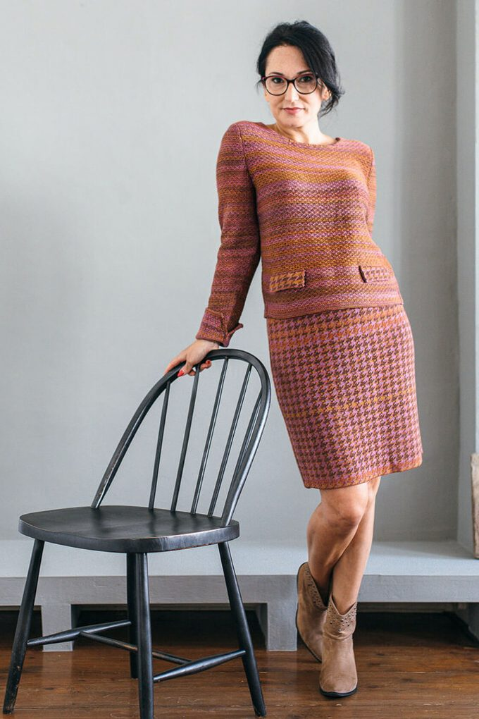 Timeless Feminine Jumper In Audrey Hepburn Style Tweed Heather B