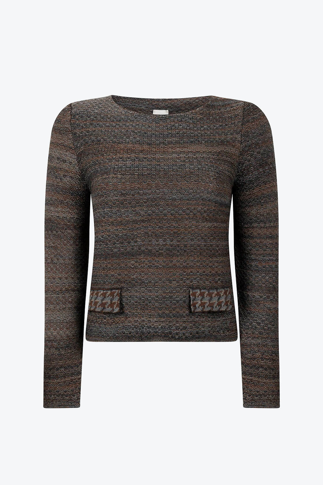 Timeless Feminine Jumper In Audrey Hepburn Style Tweed Raven