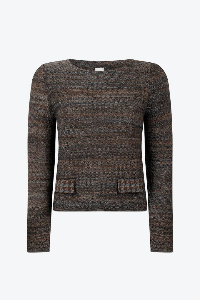 Timeless Feminine Jumper In Audrey Hepburn Style Tweed Raven A