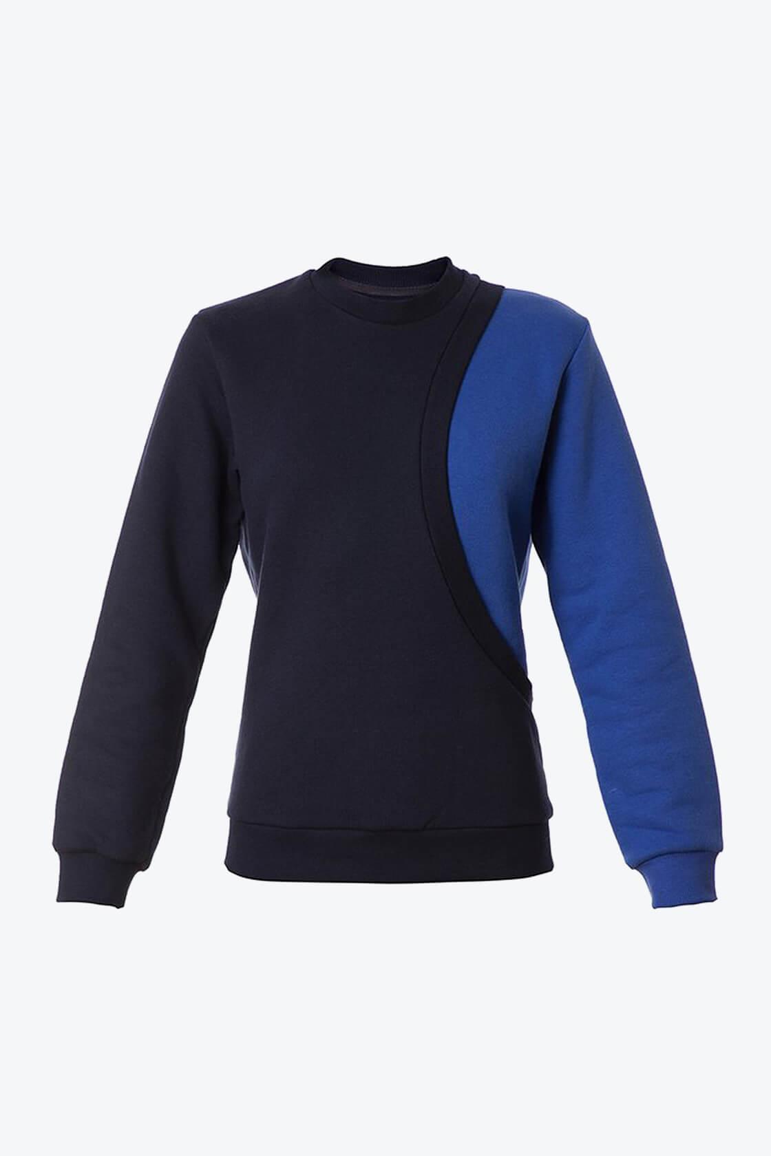 OL10000179 One sleeve sweatshirt blue1