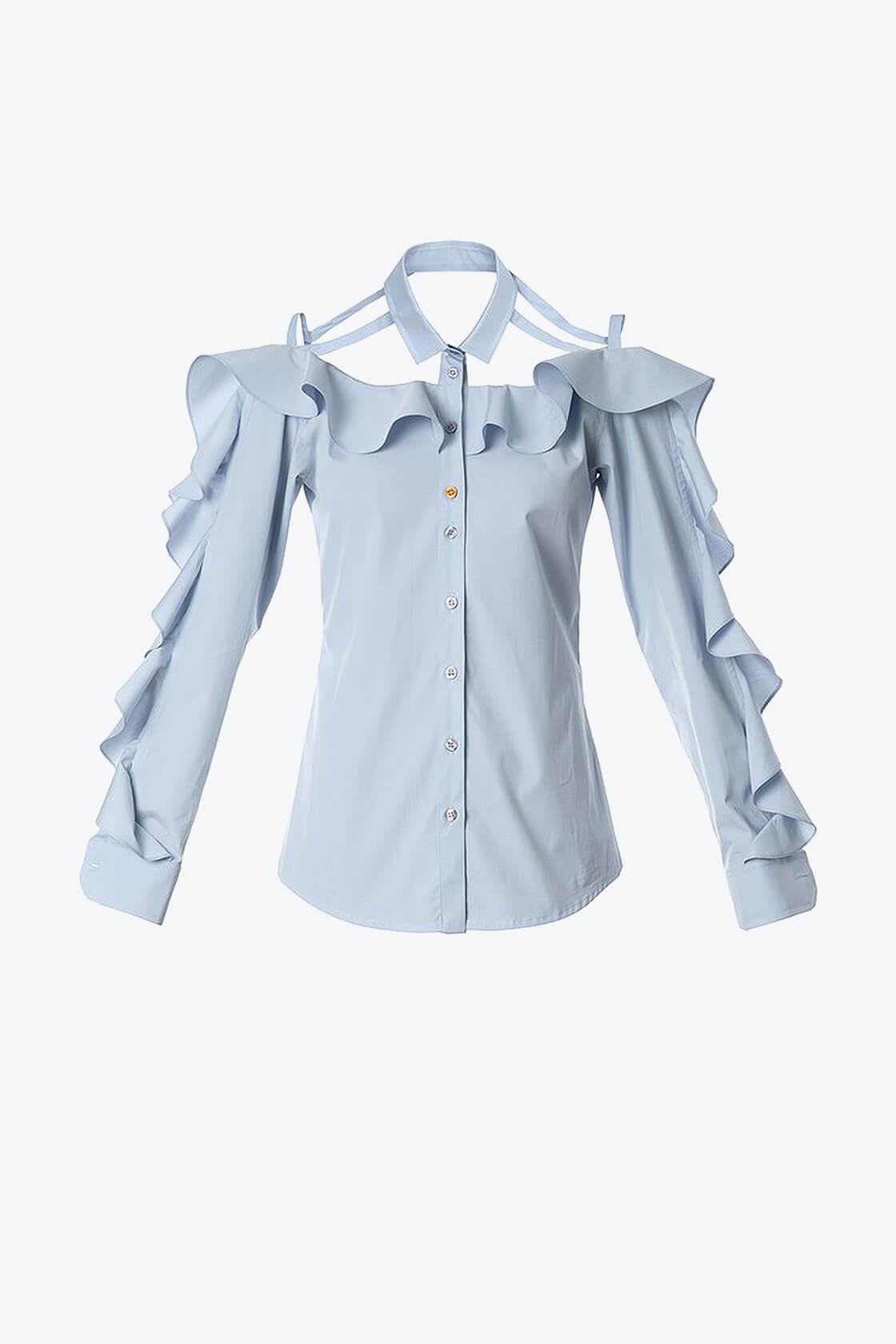 OL10000180 Ruffled bare shoulder shirt1