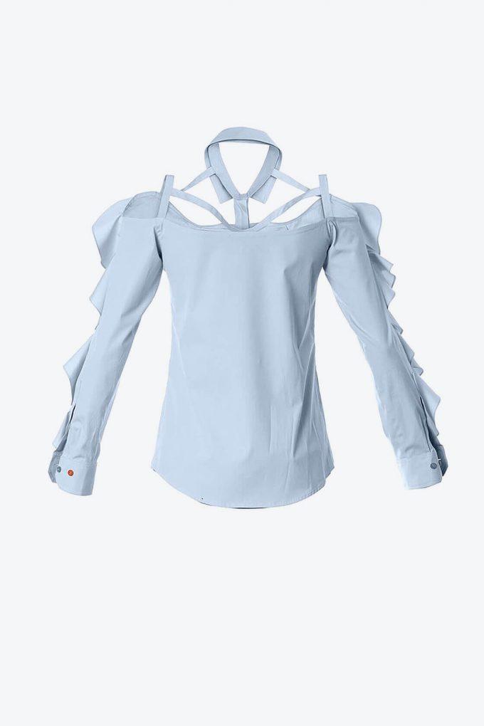 OL10000180 Ruffled bare shoulder shirt2