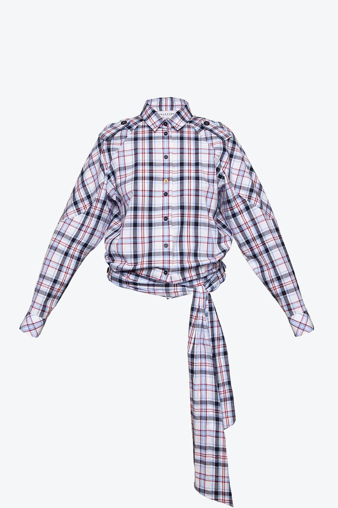 OL10000188 Low waist blouse plaid1