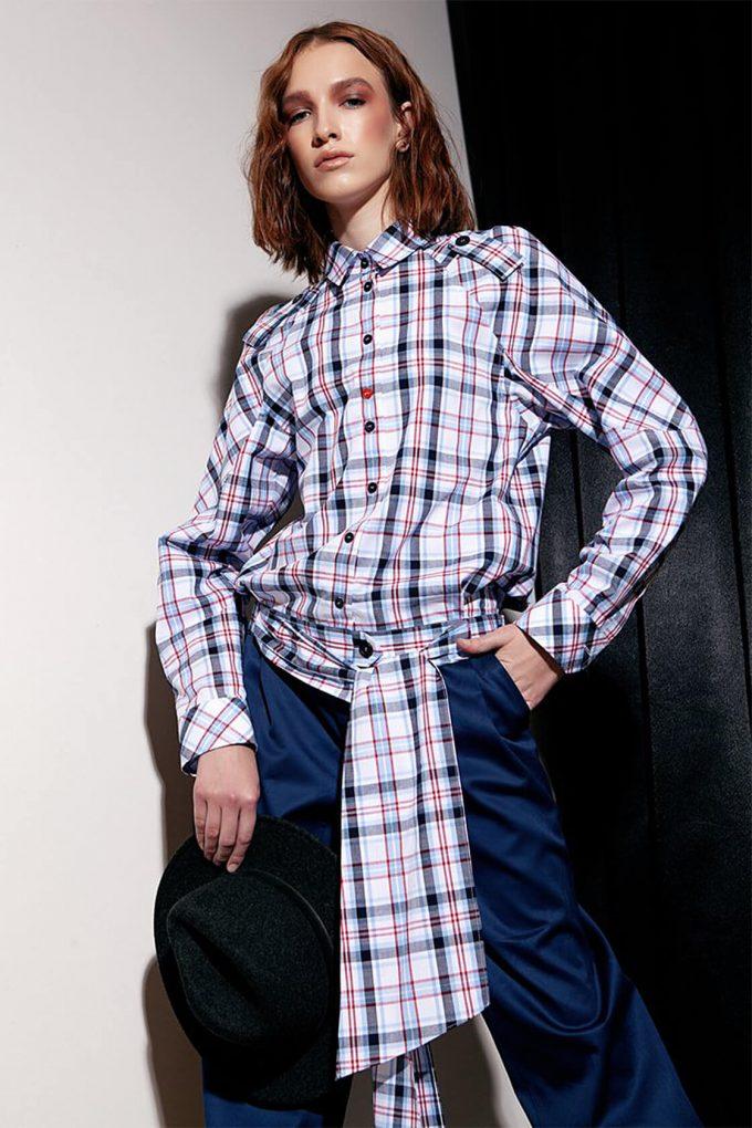 OL10000188 Low waist blouse plaid3