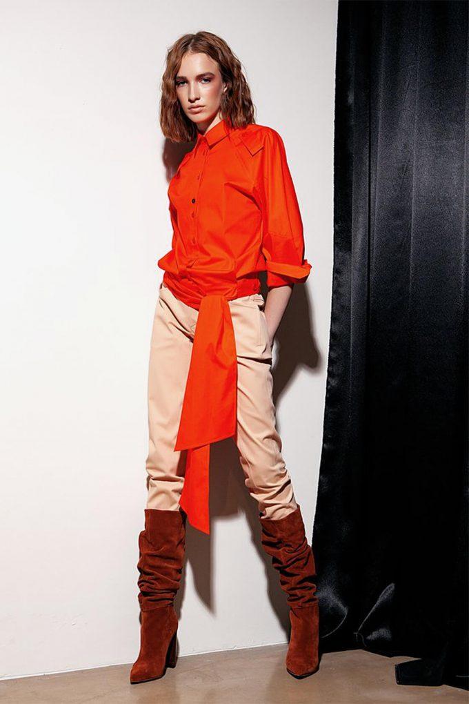 OL10000189 Low waist blouse orange3
