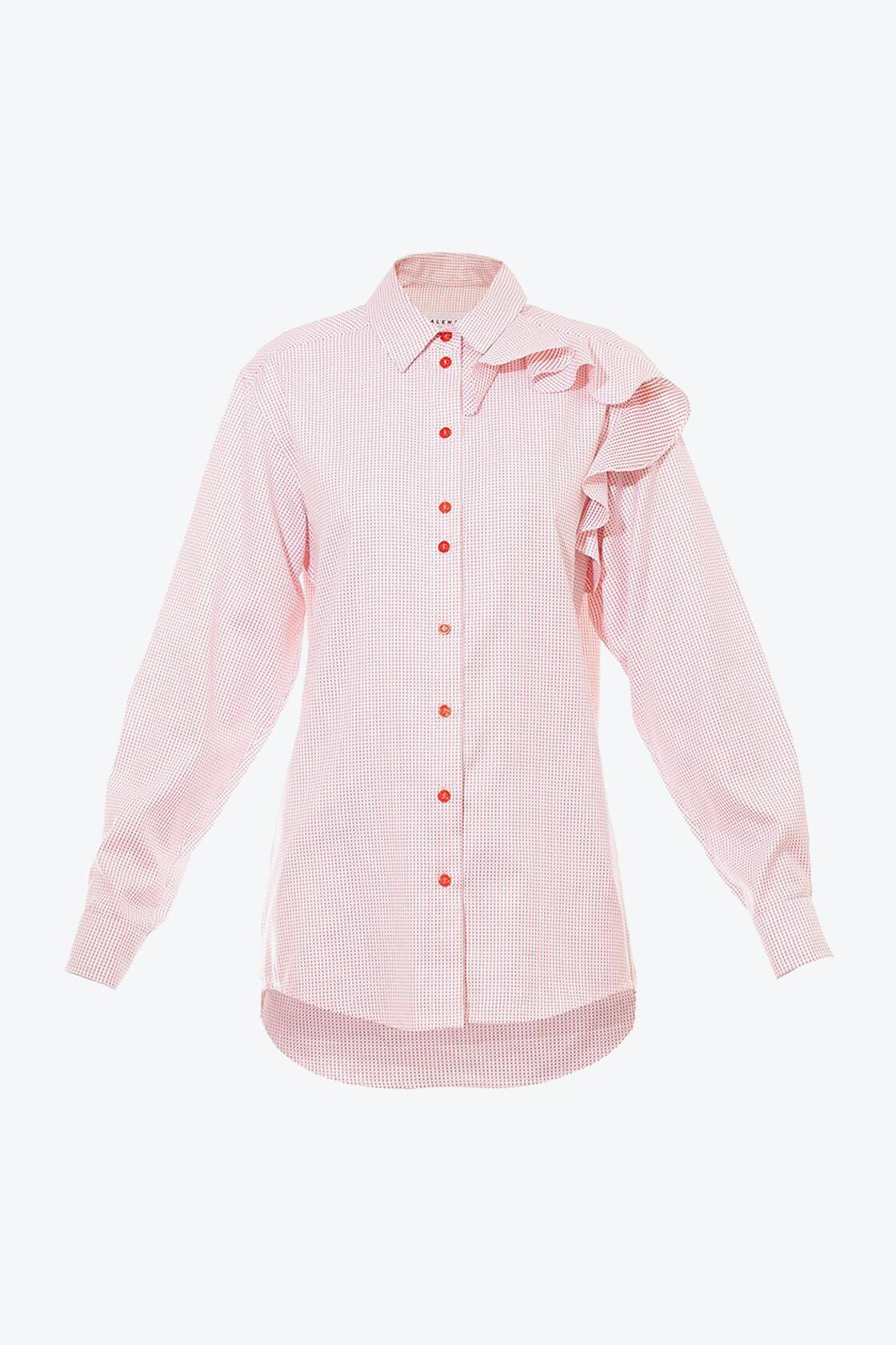 OL10000190 Oversized dotted ruffle shirt1