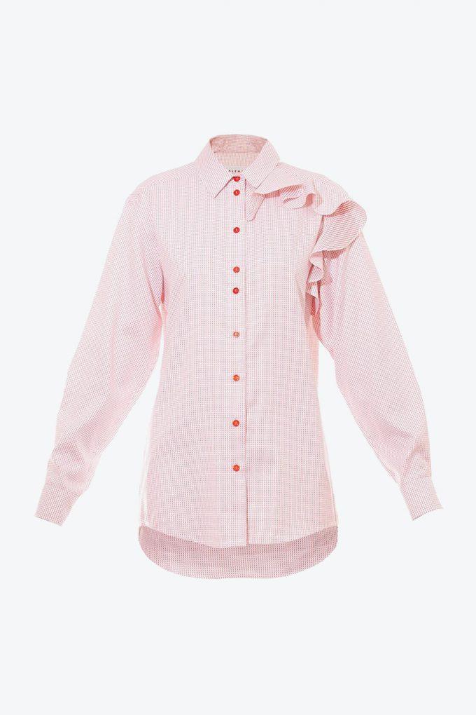 OL10000190 Oversized dotted ruffle shirt1B