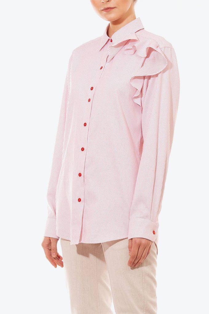 OL10000190 Oversized dotted ruffle shirt3