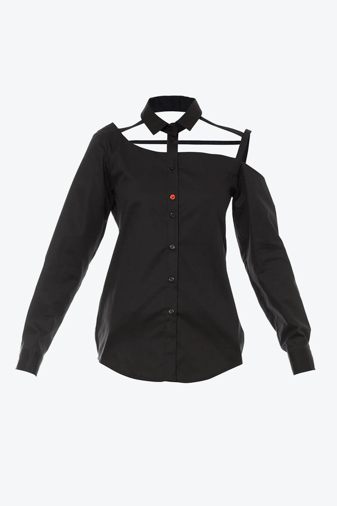 OL10000191 One shoulder button down blouse black1