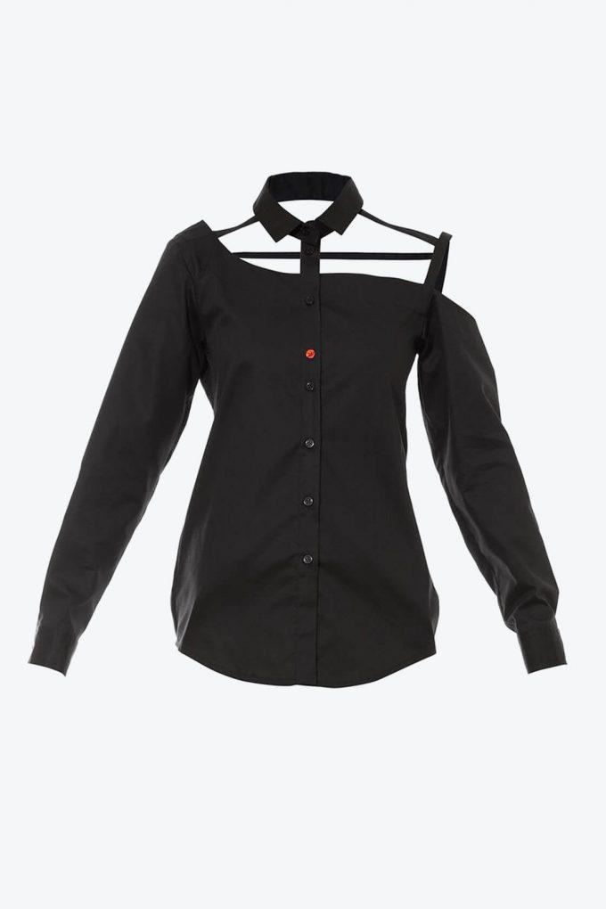 OL10000191 One shoulder button down blouse black1B