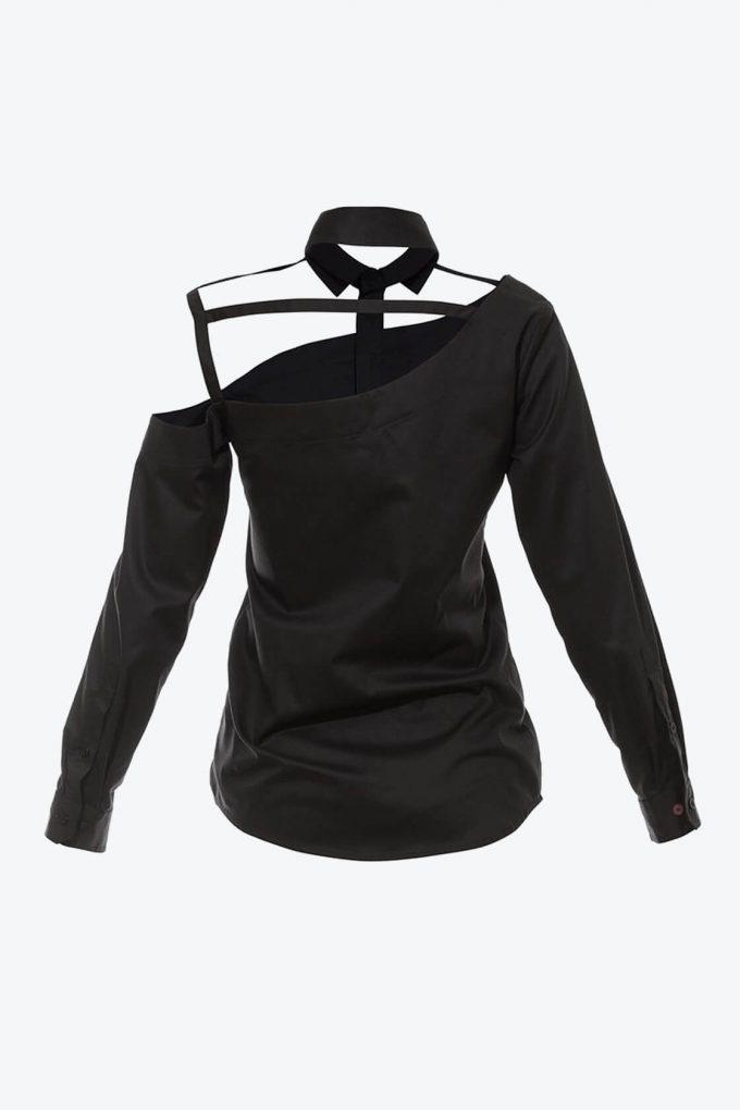 OL10000191 One shoulder button down blouse black2