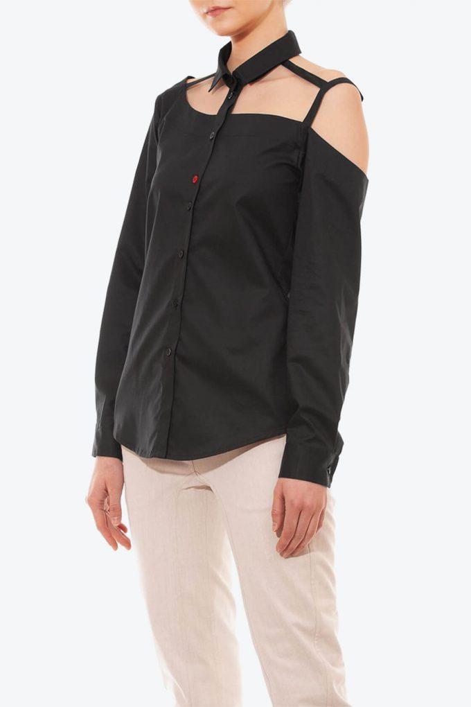 OL10000191 One shoulder button down blouse black3