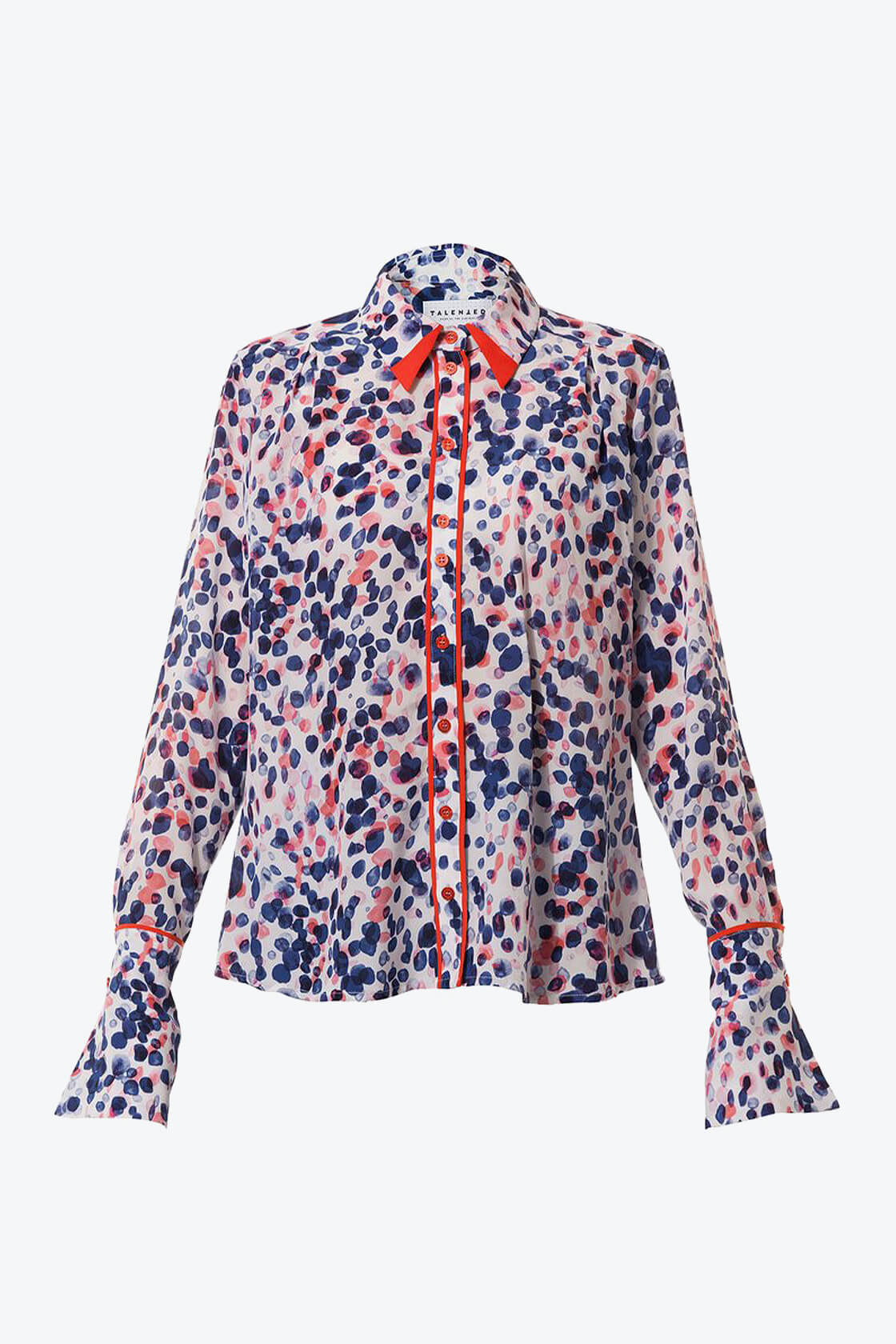 Ol10000197 Printed Silk Blouse With Contrast Details1
