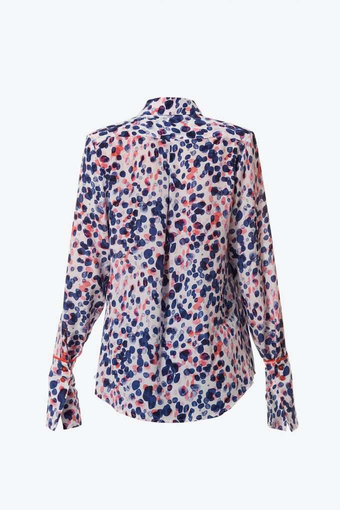 Ol10000197 Printed Silk Blouse With Contrast Details2