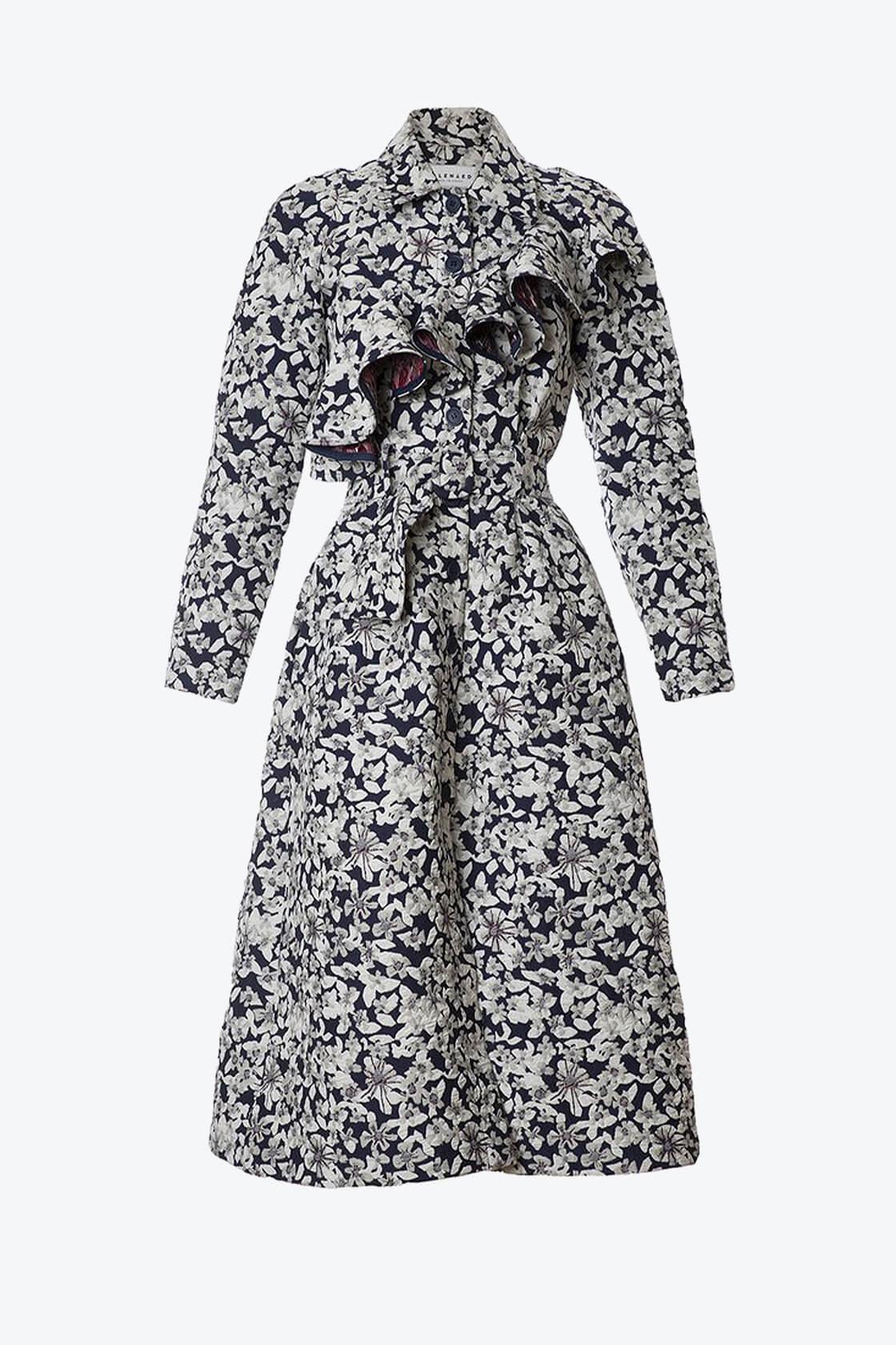 OL10000198 Jacquard ruffle coat1